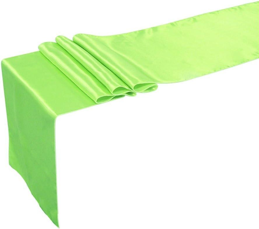 iiniim 12 x 108 inch Satin Table Runner for Wedding Banquet Decoration Apple Green One Size