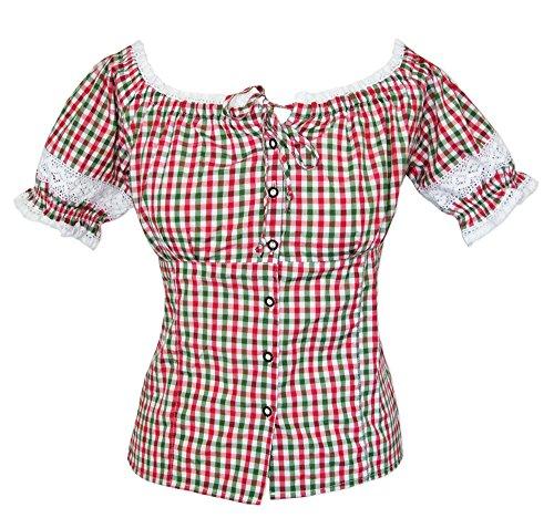 Fuchs Trachtenmoden Trachtenbluse Annemarie Rot Grün Gr. M - Schöne Karierte Oktoberfest Bluse im Carmen Stil zur Lederhose für Damen