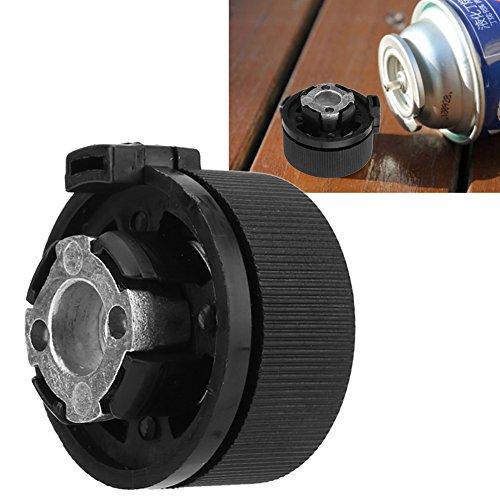 Fockety Adaptador de Tanque de Gasolina de Alto Rendimiento, Adaptador de Botella de Gas Duradero portátil Negro, aleación de Aluminio para Acampar al Aire Libre