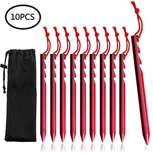 UNEEDE Heringe Zelt 10 Pack Aluminiumlegierung Camping Heringe mit Nylontasche,Perfekt für Ankerzelte, Vordächer, Tarps, Rot