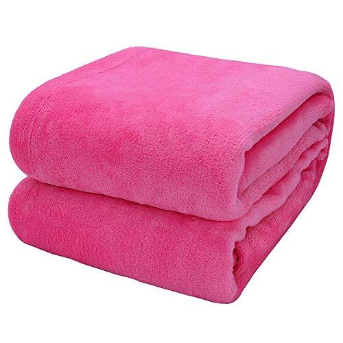 Arkham Manta de forro polar de franela roja rosa para el hogar, manta mullida para sofá y mascotas, exquisita cómoda manta de franela roja rosa de 230 x 270 cm