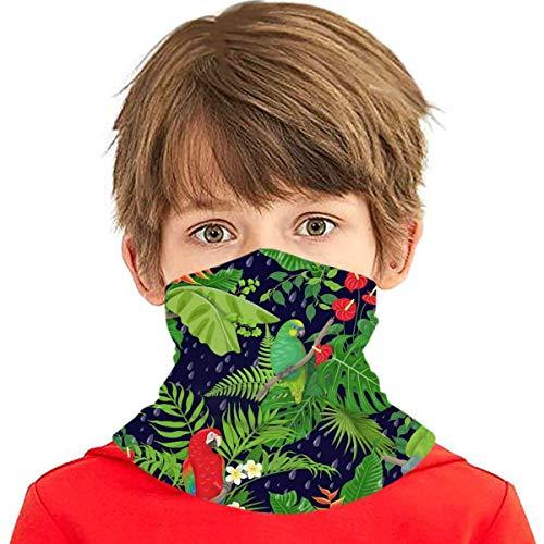 Pañuelo para niños con pañuelo Hecho con Hojas de pájaros Tropicales Amazon Kids Variedad pasamontañas Mascarilla