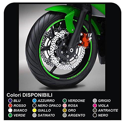 Pegatinas llantas ruedas de motos tiras adhesivas para rueda llantas pegatinas (VERDE NINJA)