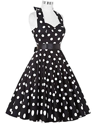 Damen Schulterfrei Treffen Kleid Neckholder Festliche Kleid L CL4599-1 - 5