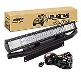 RIGIDON Barra de luz led, 23 pulgadas 324W, Tri fila Barras luminosas led y kit de cableado soporte de matrícula y soporte de montaje para off road camión coche ATV SUV 4x4 , Foco Inundación Combo