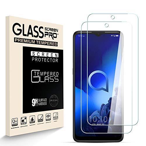HJX Panzerglas Schutzfolie für Alcatel 3X 2019, 9H-Festigkeit Tempered Glass, Anti-Kratzer, Einfache Installation, Anti-Fingerabdruck Bildschirmschutzfolie für Alcatel 3X 2019 [2 Stück]