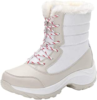Women's Artificial Leather Platform Outdoor Warm Snow Boot High Top Lace-up Ankle Boots with Faux Fur (Color : White, Size : UK:5.5)