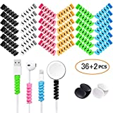 36 PCS Cable Protectors for iPhone iPad Charger End Cord Savers with 2 Desk Cable Clips, VIWIEU Spiral USB Wire Protector for Headphone MacBook Laptop Earphone Cell Phone Cute Cable Wrap Accessories