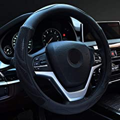 "【UNIVERSAL SIZE】- Suitable for middle size steering wheels from 14.5"" to 15"" (37 cm to 38 cm) in diameter. Universal size fits for most VEHICLES , SUVS,VANS,TRUCKS. Easy slip on installation 【PREMIUM QUALITY】- Made of microfiber leather outer and nat..."