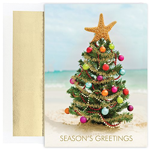 Masterpiece Studios Warmest Wishes 18-Count Christmas Cards, Beach Christmas Tree, 5.62' x 7.87' (901400)