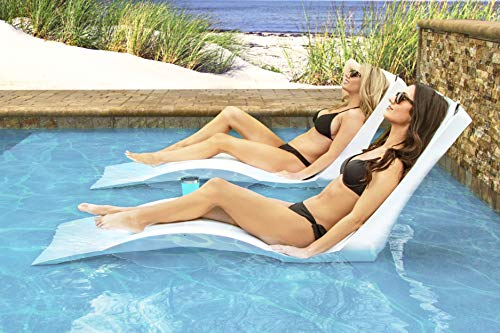 Floating Luxuries Kai Shelf Lounger, Set of 2 in-Pool Chaise Lounge Chairs, White