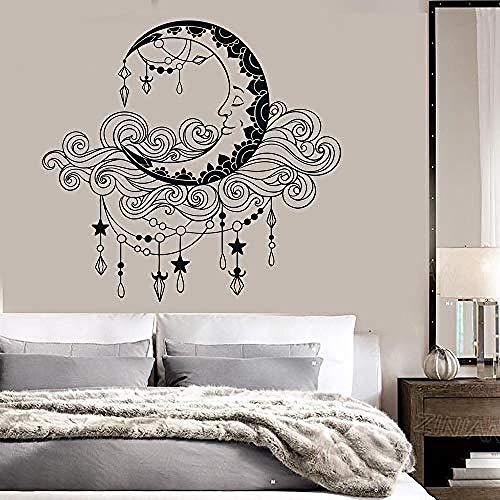 Moon Clouds Vinile Wall Art Decal Camera da letto Boho Style Pattern Adesivi Decorazioni per la casa Baby Nursery Kids Room Decor Murale 59x56cm