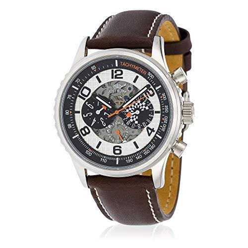 Jost Burgi HB4A60C2BC2 herenhorloge, automatisch, racing, 42 mm, witte wijzerplaat, bruine leren armband
