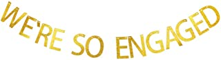 We're So Engaged Banner, Gold Gliter Paper Funny Sign Garland Decorations for Engagement Party