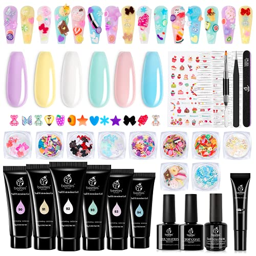 Beetles Poly Extension Gel Nail Kit, 30g Nail Extension Gel with 48W Nail Lamp Slip Solution Nail Strengthener Rhinestone Glitter Nail Manicure Beginner Starter Kit Valentines Day gifts