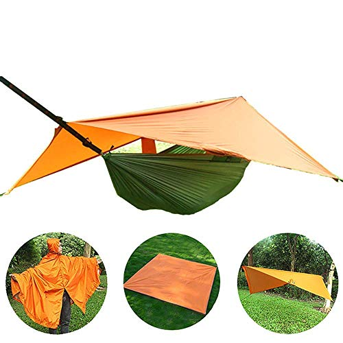 Inicio Equipo Hamaca para acampar Hamaca columpio para colgar al aire libre 4 en 1 Se puede usar Manta de picnic Hamaca Lona opaca Impermeable - Tela de nailon resistente al desgaste Naranja + verd