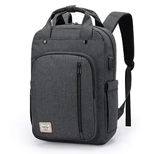 WindTook USB Anschluss Laptop Rucksack Damen Daypack Schulrucksack für 15 Zoll Notebook, Wasserabweisend, Grau