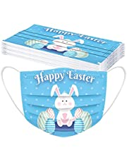 LANJIA 10 Unidades De_Mascarillas_Desechable con PatróN De Dibujos De para NiñOs con Cuerda EláStica Patrón de Conejo de Pascua Lindo