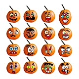 16 Sets Halloween Pumpkin Decorating Stickers, Jack-O-Lantern Face Decals Kit for Pumpkins and Squashes Pumpkin Face Stickers for Parties, Kids, School or Other Halloween-Themed Activities