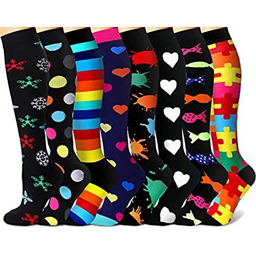 Hunpta@ 8 pares de calcetines para mujer, calcetines de deporte, diseño de rayas