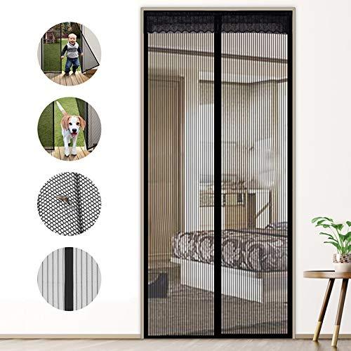 MENGH Cortinas mosquiteras para Puertas Grandes Apagar Automáticamente Cortina de Fibra de Vidrio de Primera Calidad Bueno para Niños y Perros 190x270cm Negro
