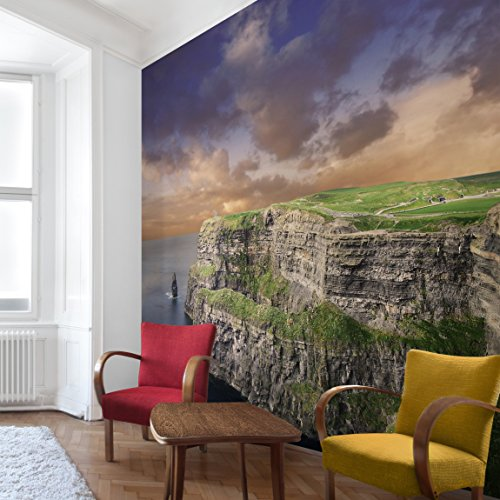 Apalis Vliestapete Cliffs Of Moher Fototapete Quadrat | Vlies Tapete Wandtapete Wandbild Foto 3D Fototapete für Schlafzimmer Wohnzimmer Küche | Größe: 288x288 cm, mehrfarbig, 95278