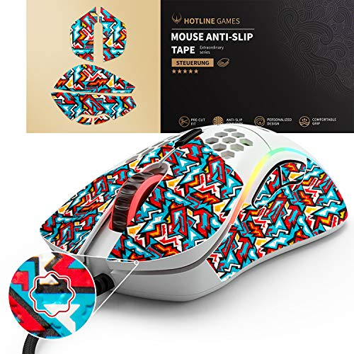 Hotline Games Colorful Mouse Anti-Slip Grip Tape for Glorious Model D Gaming Mouse, Non-Fading,Sweat Resistant,Cut to Fit,Easy to Use,Professional Mice Upgrade Kit