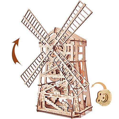 Wood Trick 3D Wooden Puzzle Mechanical Windmill, Assembly Constructor, Brain Teaser, Best DIY Toy, IQ Game for Teens and Adults