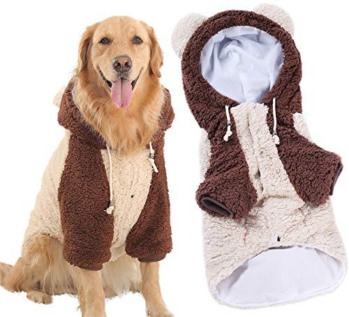 DHGTEP Suéter de Vellón para Perros con Patas y Gorro, Suéter para Perros Calientes de Invierno, Lindo Pijama para Perros Pequeños, Medianos y Grandes (Color : Beige, Size : 5XL)