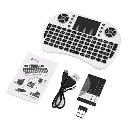 Teclado inalámbrico, mini teclado remoto inalámbrico de 2.4Ghz con mouse con panel táctil para Android Tv Box Batería de iones de litio recargable con retroiluminación LED de 3 colores (blanco