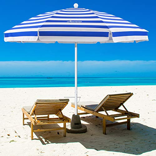 MOVTOTOP Beach Umbrella, 6.5ft Beach Umbrella with Sand Anchor & Tilt Mechanism, Portable UV 50+...