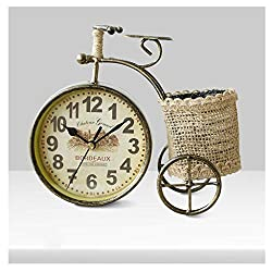 Yxx max Bracket Clock Table Clocks for Living Room Decor Bedrooms Bathroom Rustic Desk Clock Battery Operated Analog Plant Non-Ticking Quartz Metal Retro Bicycle Home Outdoor (Color : A)