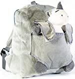 ToyJoy Grey Stuffed Animal Unicorn Backpack With Zipper - Travel Carrier Bag With Plush Toy For Baby Girls And Boys - Kids Clothing Baby Accessories, Includes Leash - Perfect For Preschool