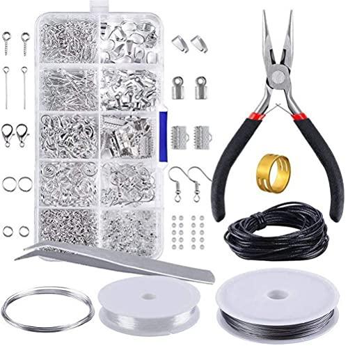 Juego de 912 piezas de accesorios de joyería para bricolaje, kit de suministros para hacer joyas, ganchos para pendientes, anillos de salto abiertos, cierres de langosta, cuentas de engarce, pasadore