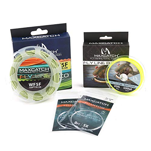 M MAXIMUMCATCH Maxcatch Fly Line Combo Pack: ECO Floating Fly Line, Backing, and Tapered Leader (Moss Green, WF5F)