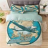 Juego de 3 fundas de edredón para cama individual, avión, Bon Voyage Retro Pop Art, 3 piezas de edredón Qulit funda ultra suave y ligera estilo simple (1 funda de edredón + 2 fundas de almohada)