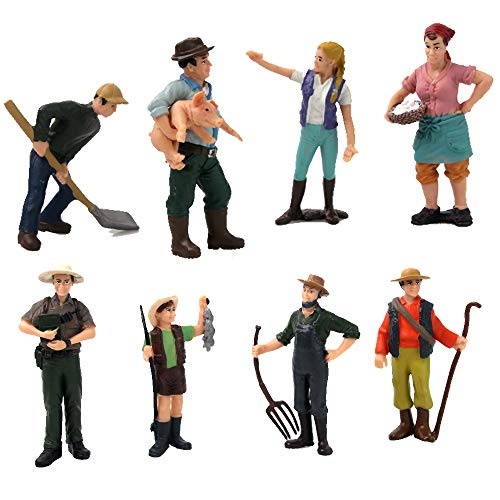Farmer models, realistic statues of male and female farmers, farmer dolls, farmer models, large-scale farm world dolls, children's toys (8 pieces)