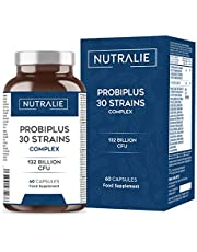 Probiotica 30 Stammen 132 Miljard CFU Gegarandeerd per Dosis | Verbetert de Afweer en Darmflora | Probiplus 30 Stammen Complex 60 capsules Nutralie