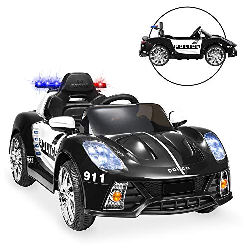 Best Choice Products 12V 2-Speed Kids Police Sports Car Ride On w/ AUX Port, Parent Remote Control, Working Intercom, Headlights, Sounds