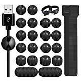 70 PCS Cable Management Organizer Set, 50 Reusable Fastening Cord Ties and 20 Cable Holder Clips for Computer Desk Electronics Wire Wrap Organizer