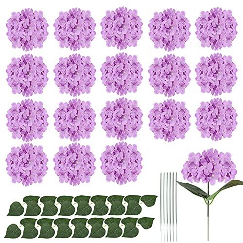 Gukasxi - 20 teste di ortensia in seta con steli, fiori artificiali di ortensia in seta, per matrimoni, feste di casa, baby shower, decorazione (viola)