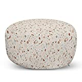 "Ambesonne Abstract Pouf Cover with Zipper, Terrazzo Style Modern Architectural Motifs Classic Stone Like Designs Pattern, Soft Decorative Fabric Unstuffed Case, 30"" W X 17.3"" L, Multicolor"