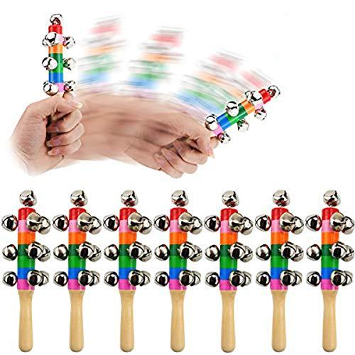 Oruuum 7PCS Bright Color Rainbow Handle Wooden Bells, Christmas Bell For Kids Jingle Stick Shaker Rattle Baby Kids Children Musical Toys