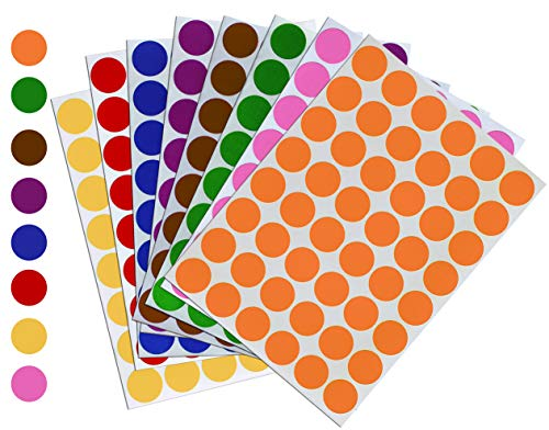 Royal Green Kids Colored Craft Stickers Colorful 5/8 inch 17mm - 1536 Pack - 8 Colors - 32 Sheets - Dot Labels for Children Fun, Games and Art