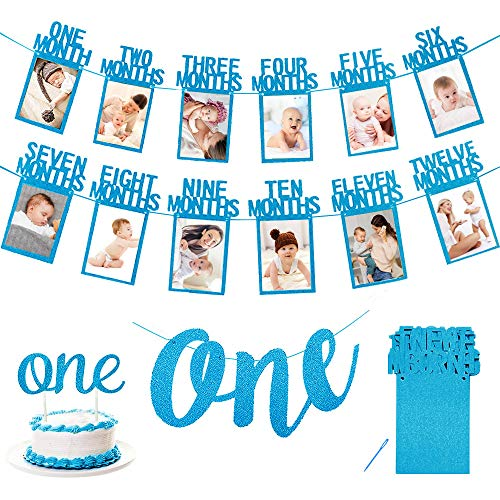Cumpleaños Foto Banner, Primer banner de fotos de cumpleaños 1 año, 12 meses fotografía mensual Guirnalda del empavesado, ONE banner, ONE adorno de pastel para Decoración de primer cumpleaños-Azul