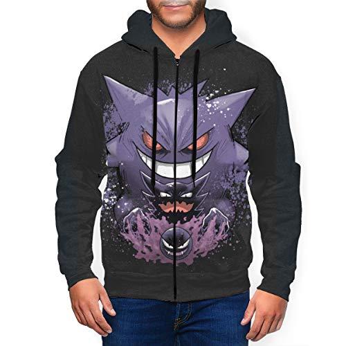 Men's Gen-Gar Zip Up Hoodie-Novelty Hooded Jacket Sweatshirts, Lightweight Hoodies with Pockets M Black