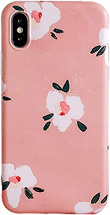 iPhone X Case,Vintage Flowers,All-Inclusive Anti-Drop Silicone Pink Cover Case