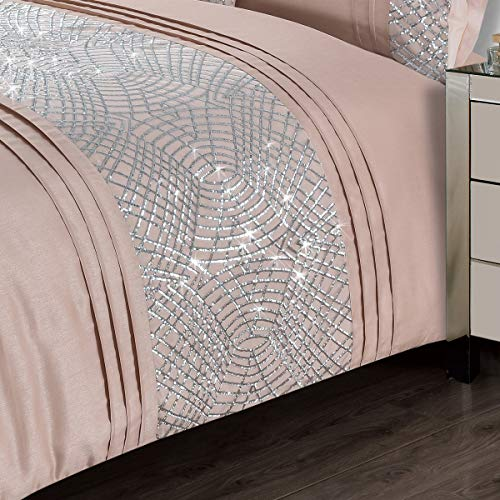 CHARLESTON Glitter Sequins Duvet Cover Set Bedding Range Blush 1 x Filled Boudoir Cushion