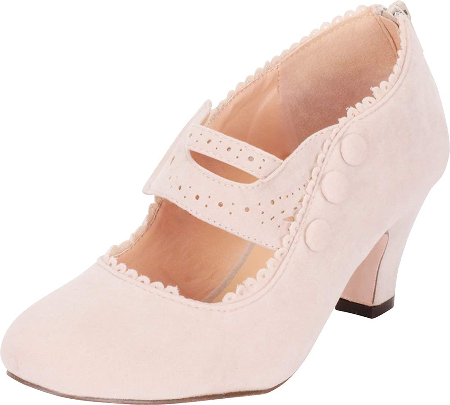 Cambridge Select Women's Vintage Inspired Pinup Eyelet Cutout Mary Jane Mid Heel Pump