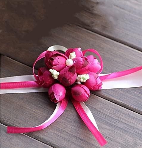SHIXIMAO 5 unids Novia Boda Ajustable Cinta Rosa Dama de Honor Floral muñeca de la Mano Pulseras de Corsage Ceremonia de Fiesta de Fiesta decoración de Flor (Color : Rose Red, Size : 01)